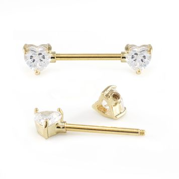 Nipple Barbell and Nipple Clicker Package 14G Surgical Steel with Multiple Cubic Zirconia Gems