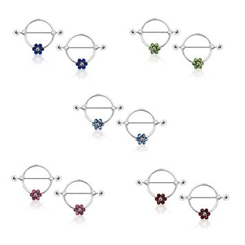 Nipple Shield Rings Round with Paved CZ Flower Surgical Steel 14ga- Sold as a Pair