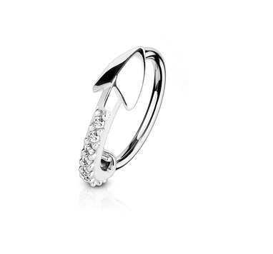 Bendable Hoop Ring with CZ Paved Arrow 316L Surgical Steel Nose and Cartilage 20 ga 18 ga Sold Each