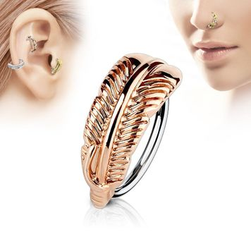 Bendable Hoop Ring with Feather Hugger Top 316L Surgical Steel  Nose and Cartilage 20 ga 18 ga Sold Each