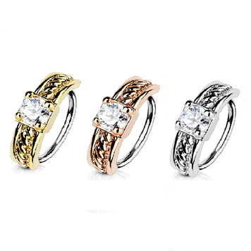 Bendable Hoop Ring with Prong Set CZ Centered Half Circle Top 316L Surgical Steel Nose and Cartilage 20 ga 18 ga Sold Each