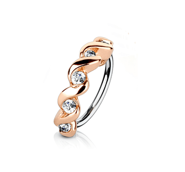 Bendable Hoop Ring with CZ Set Twisted Half Circle Top 316L Surgical Steel Nose and Cartilage  20 ga 18 ga Sold Each