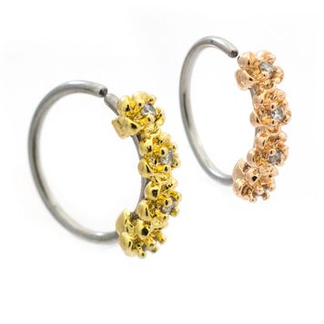 Four CZ Paved Flowers Bendable Nose, Cartilage Hoop Ring Surgical Steel 20ga 5/16