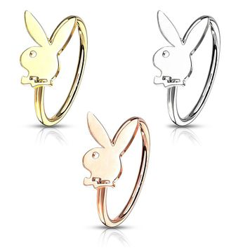 Bendable Hoop with Playboy Bunny Top- Cartilage & Nose 20ga Sold Each