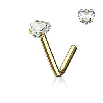 Nose Ring  L Bend Shape with Heart CZ 20G 18G Surgical Steel -Sold Each