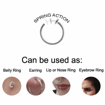 Pair of Non-Piercing Spring Hoop with Acrylic Marble Bead