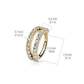 Nose and Ear Bendable Nose Hoop Double Lined Micro Set CZ 16ga - Sold Each