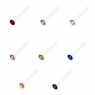 Nose Bone Clear Stud with CZ Gem 20g 1/4 Inch