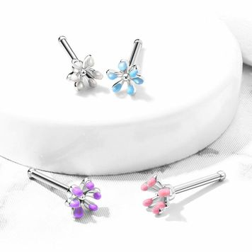 Nose Bone Stud Ring with Enamel Flower Top Surgical Steel 20ga- Sold Each