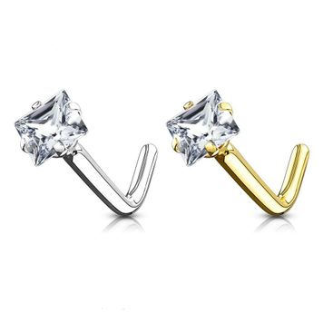 Nose Ring L-Bend with Prong Set Square CZ  14Kt Solid Gold 20g