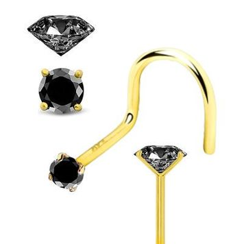 Nose Screw with Black Gem Solid 14K Yellow Gold 20ga