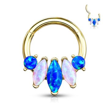 Nose Septum and Ear  Hinged Clicker Hoop with 5-Marquise Opal Set Surgical Steel 16ga - Sold Each