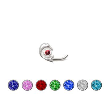 Nose Stud .925 Sterling Silver Dolphin with Jewel