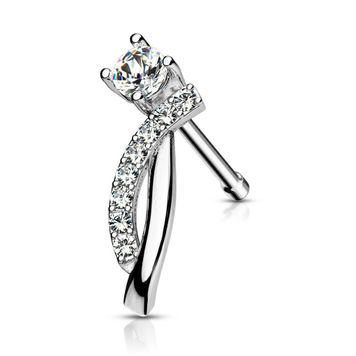 Nose Stud Ring Round CZ and Crawling Lined CZ Curves Surgical Steel 20ga