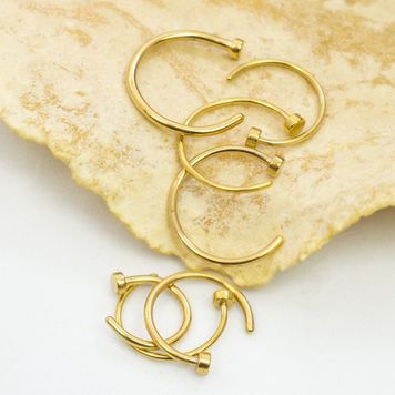 Pack of 7 Gold IP Nose Rings 20ga and 22ga Surgical Steel