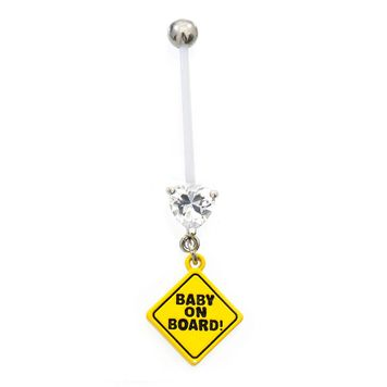 Baby on Board Flexible Maternity Belly Ring with Heart CZ Belly Button Ring 14ga