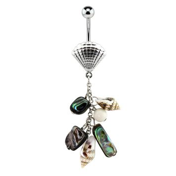 Seashell Charm Chain Dangle Surgical Steel Belly Button Ring 14ga