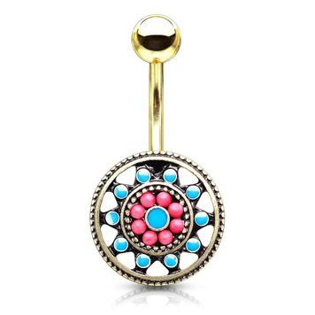 Turquoise Enamel and Beads Aztec Tribal Sun Surgical Steel Belly Button Ring 14ga