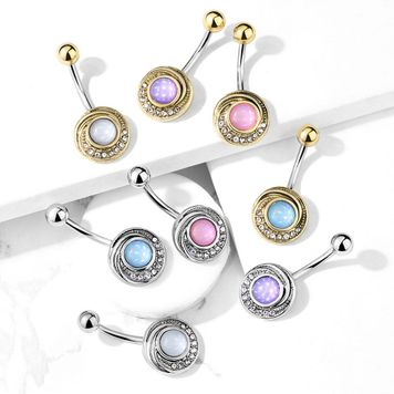 Illuminating Stone Center Crystal Paved Tribal Swirl Surgical Steel Belly Button Ring 14ga -Sold Each