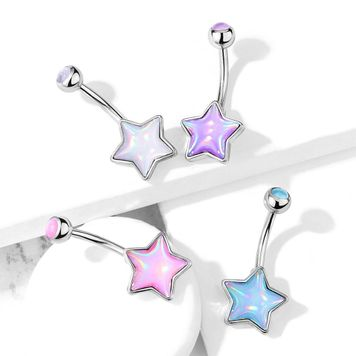 Star Shaped Illuminating Stone  Belly Button Ring with Illuminating Stone Set Top 14 Gauge Sold Each  Surgical Steel