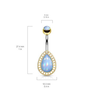 Illuminating Stone Tear Drop Shield and Illuminating Stone Set Top Surgical Steel Belly Button Ring Available in two tones- gold or silver.