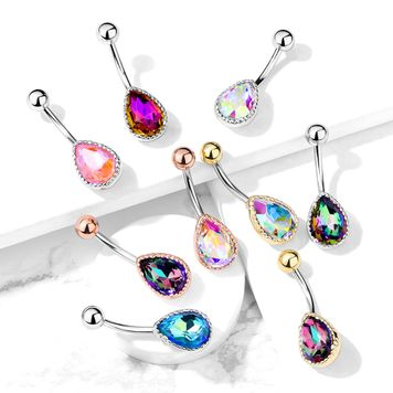 AB Effect Tear Drop Glass Stone Belly Button Ring Non-Dangle 14ga Sold Each