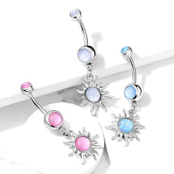 Tribal Sun with Illuminating Stone Center Dangle and Illuminating Stone Set Top  Surgical Steel Belly Button Ring 14ga