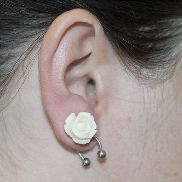 Organic Resin Ear Plugs White Rose Sold as a Pair
