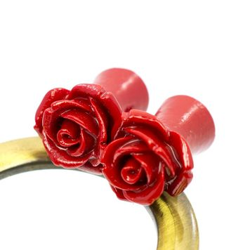 Pair of Organic Resin Ear Plugs Red Rose Blossom
