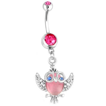 Owl Design 14G 316L Dangle Belly Button Ring with Pink Opal Stone