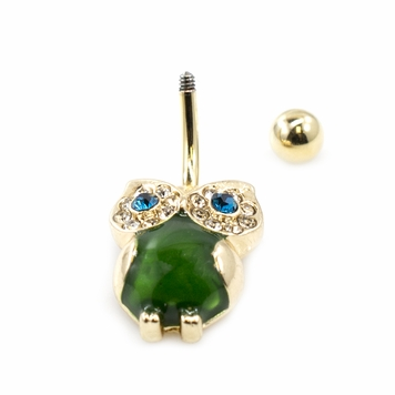 Owl Design Belly Button Ring with Large Semi-Precious Stone and CZ Gems 14ga