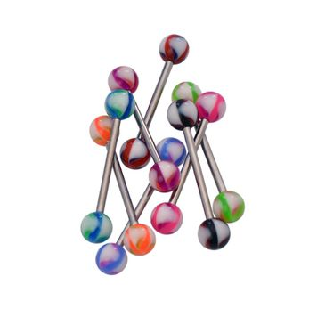 Pack of 8 Assorted Acrylic Ball Colors Tongue Straight Barbells 316l Surgical Steel 14ga