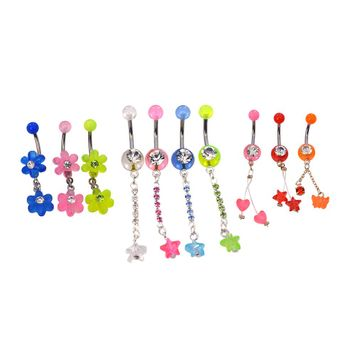 Pack of 10 Assorted Belly Button Ring Dangles 316l Surgical Steel 14ga w/CZ Gem