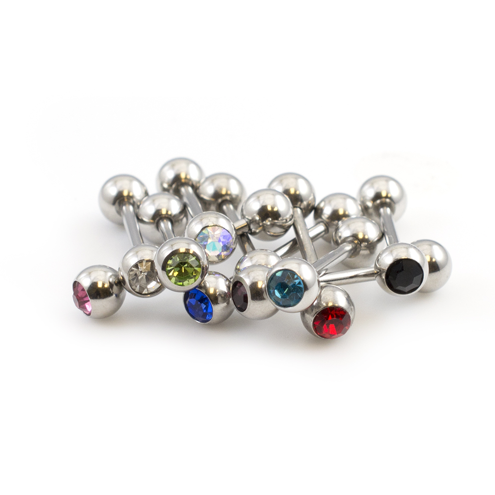 Pack of 10 Tongue Barbells with Cubic Zirconia Assorted 14g 3/8 inches 316L