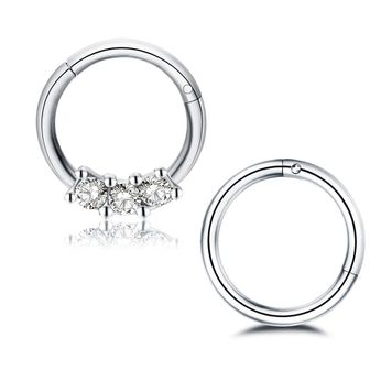 Pack of 2 Septum Clickers 16ga  -  Cartilage Tragus Rook Piercings Surgical Steel