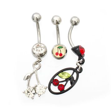 Pack of 3 Cherry and Cubic Zirconia Design Belly Button Ring 14ga- Choose Your Styles