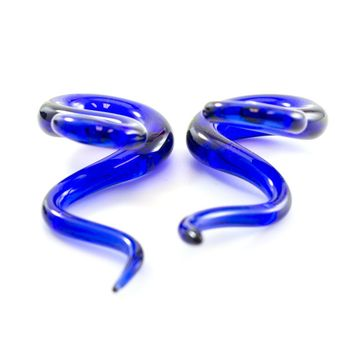 Pack of 3 Pairs - Blue Pyrex Glass Twister Tapers, Blue Silicone Tunnels, White Silicone Tunnels