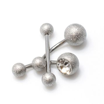 Pack of 3 pieces. 2 Belly Button Ring One with Cz Gem, and a Tongue Barbell all items with Sand Finish
