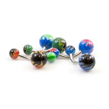 Pack of 5 Fire Flame Designed Belly Button Rings - Assorted Colors 14ga 3/8