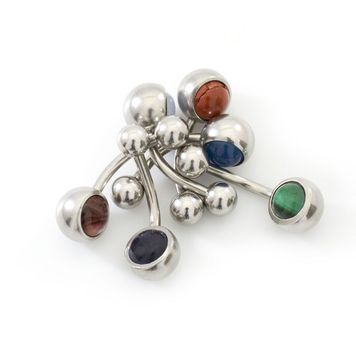 Pack of 6 Belly Button Rings Colorful Semi Precious Stone Surgical Steel 14ga