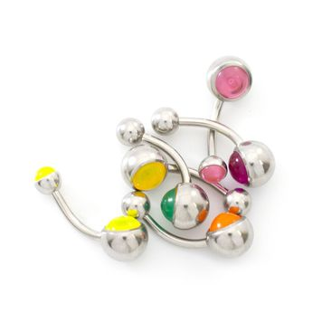 Pack of 6 Belly Button Rings UV Light Balls Surgical Steel 14ga