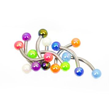 Pack of 8 Eyebrow Ring Curved Barbells with Bright Acrylic Balls 16ga
