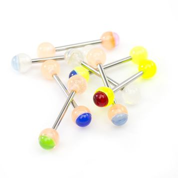 Pack of 8 with Glow in the Dark Straight Barbells Two-Toned Acrylic Balls 14ga 5/8'