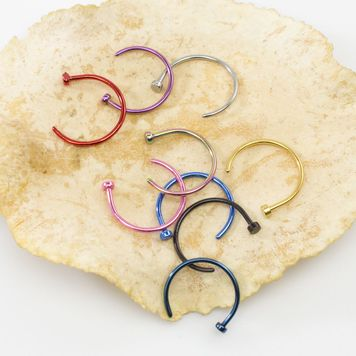 Pack of 9 Nose Rings Assorted Colors - No Duplicates Anodized Titanium 20ga