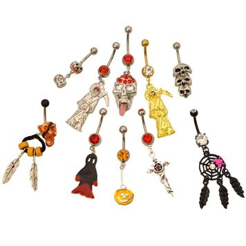 Pack of 10 Assorted Dangle Halloween Belly Button Rings 316l Surgical Steel 14ga