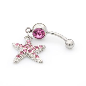 Pack of Two Belly Rings-Pink CZ Star Dangle Design and Double Pink CZ 14ga Surgical Steel