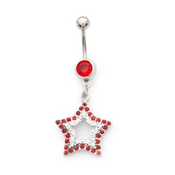 Pack of Two Belly Rings- Star CZ Dangle Design and Double CZ 14ga Surgical Steel
