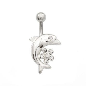 Pack of Two Belly Rings with Dolphin and Cubic Zirconia Flower Design 14ga