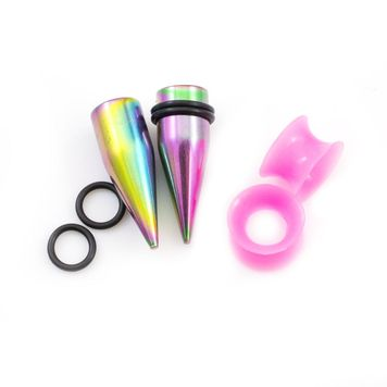 Pack of Two Pairs - Multi-Color Tapers and Pink Silicone Tunnels