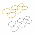 Package of 6 Gold IP or Surgical Steel Nose Ring or Cartilage Hoop